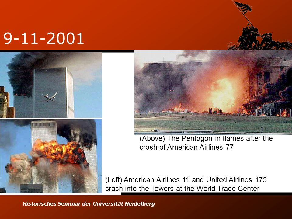 9-11-2001 (Above) The Pentagon in flames after the crash of American Airlines 77.