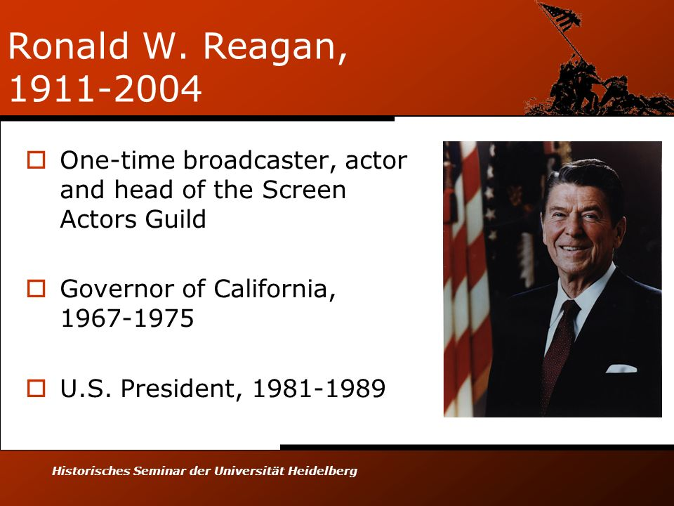 Ronald W. Reagan, 1911-2004 One-time broadcaster, actor and head of the Screen Actors Guild. Governor of California, 1967-1975.
