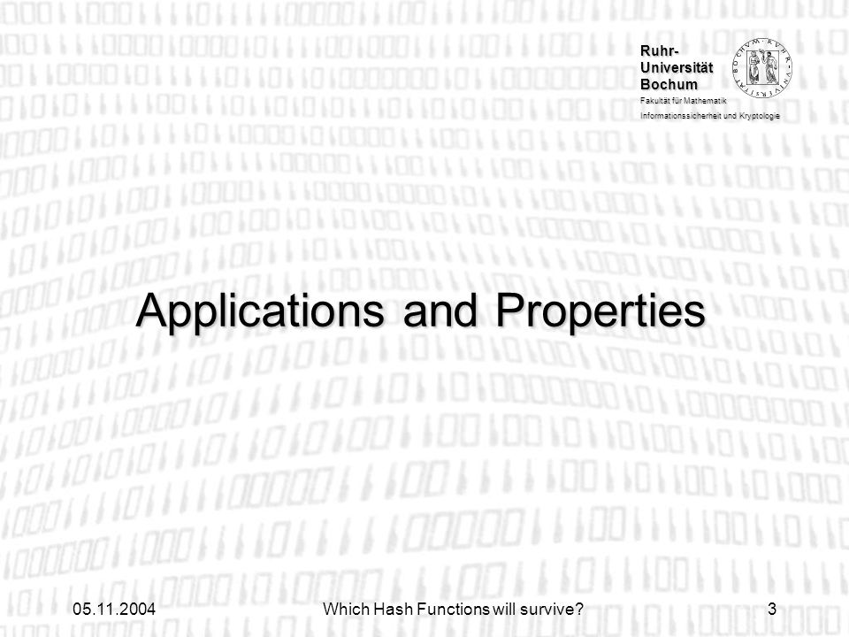 Applications and Properties