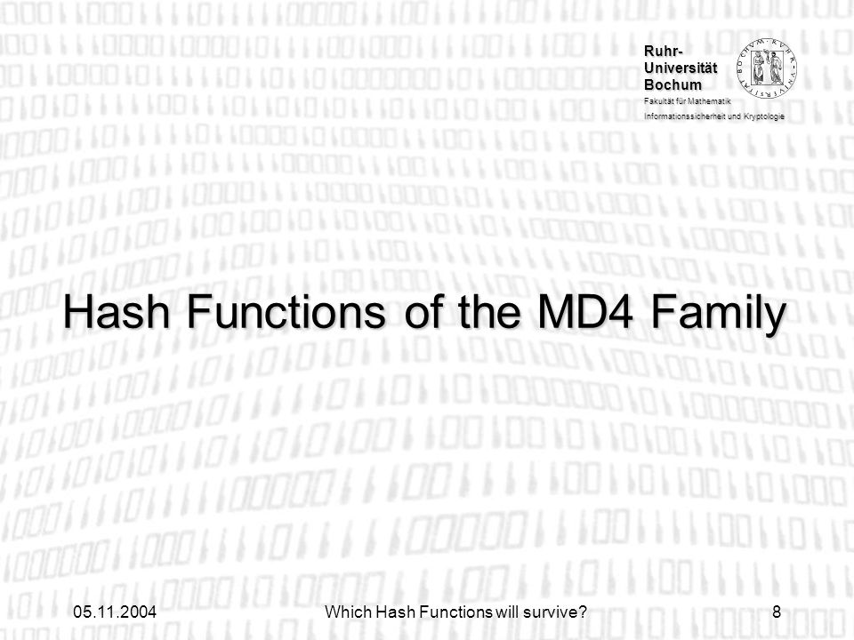 Hash Functions of the MD4 Family