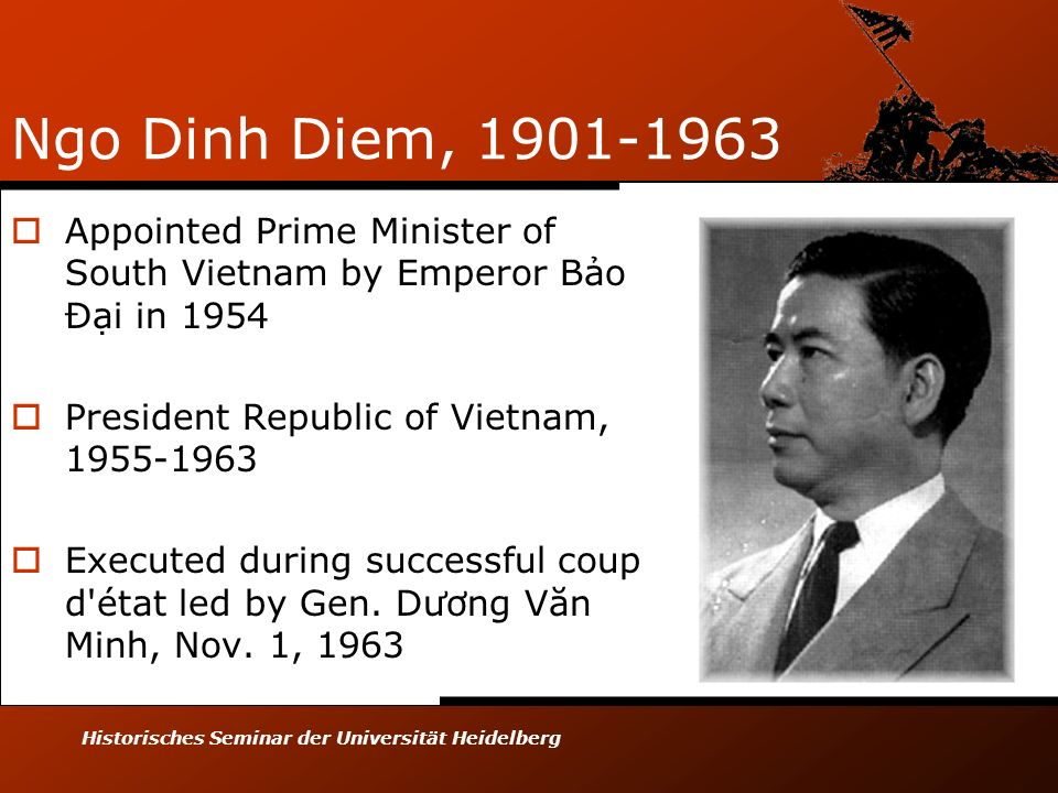 Ngo Dinh Diem, 1901-1963 Appointed Prime Minister of South Vietnam by Emperor Bảo Đại in 1954. President Republic of Vietnam, 1955-1963.