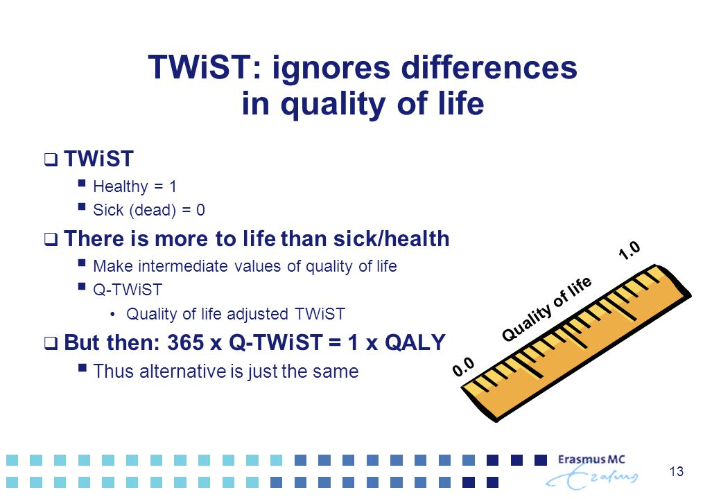TWiST: ignores differences in quality of life