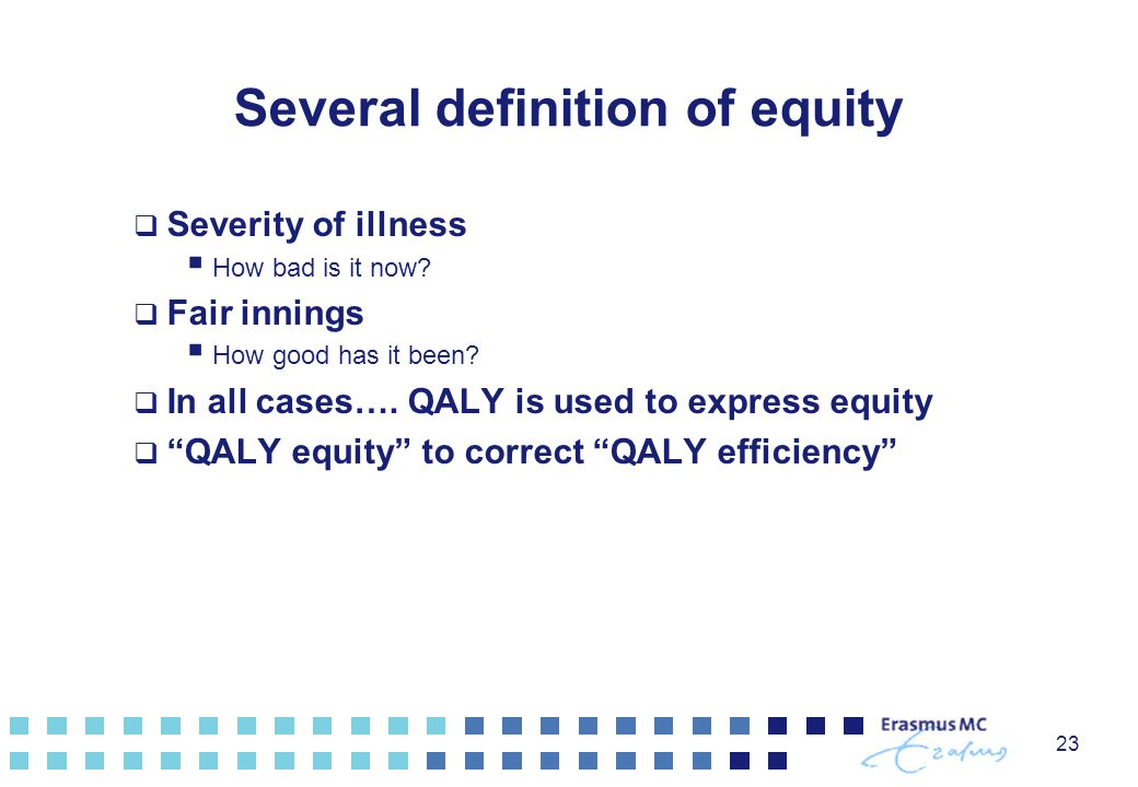 Several definition of equity
