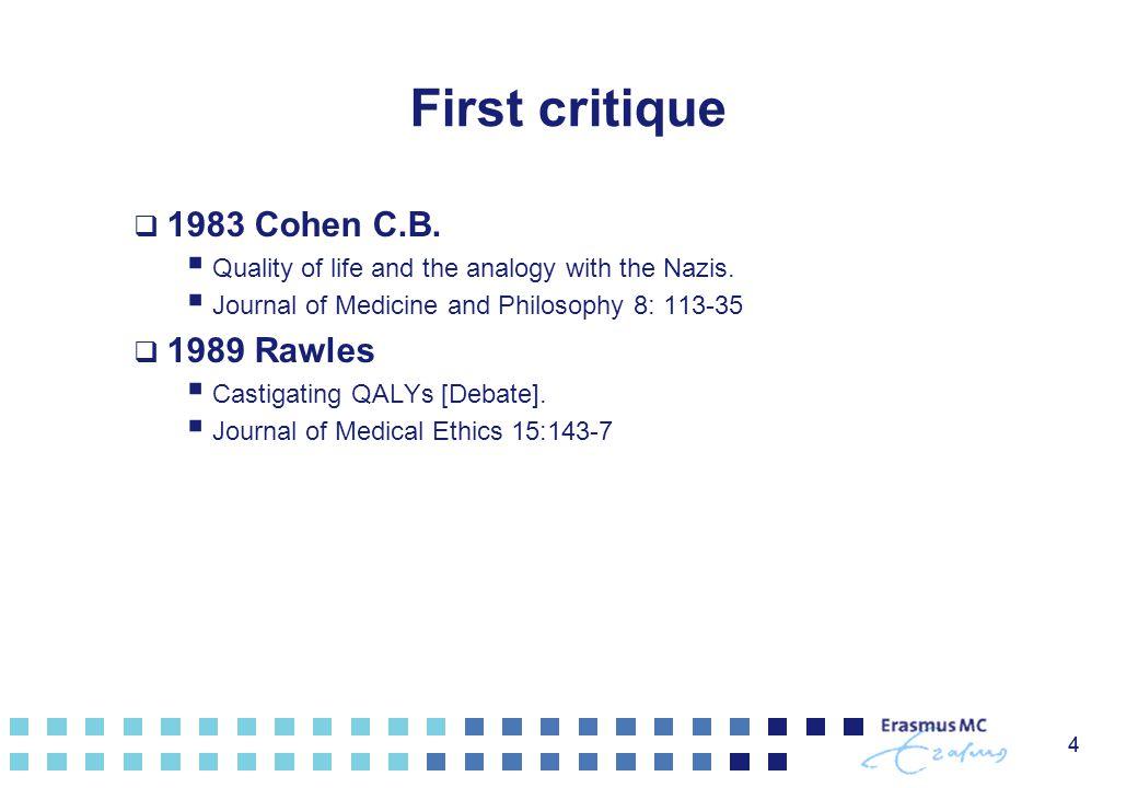 First critique 1983 Cohen C.B. 1989 Rawles