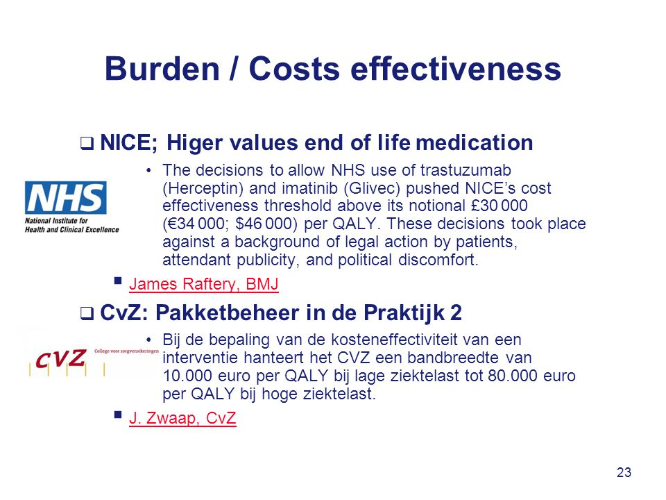 Burden / Costs effectiveness