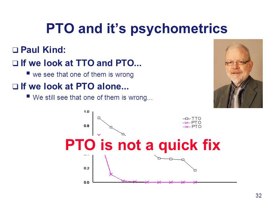 PTO and it's psychometrics