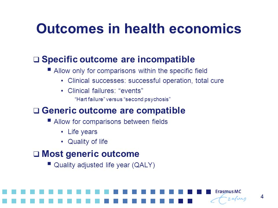 Outcomes in health economics