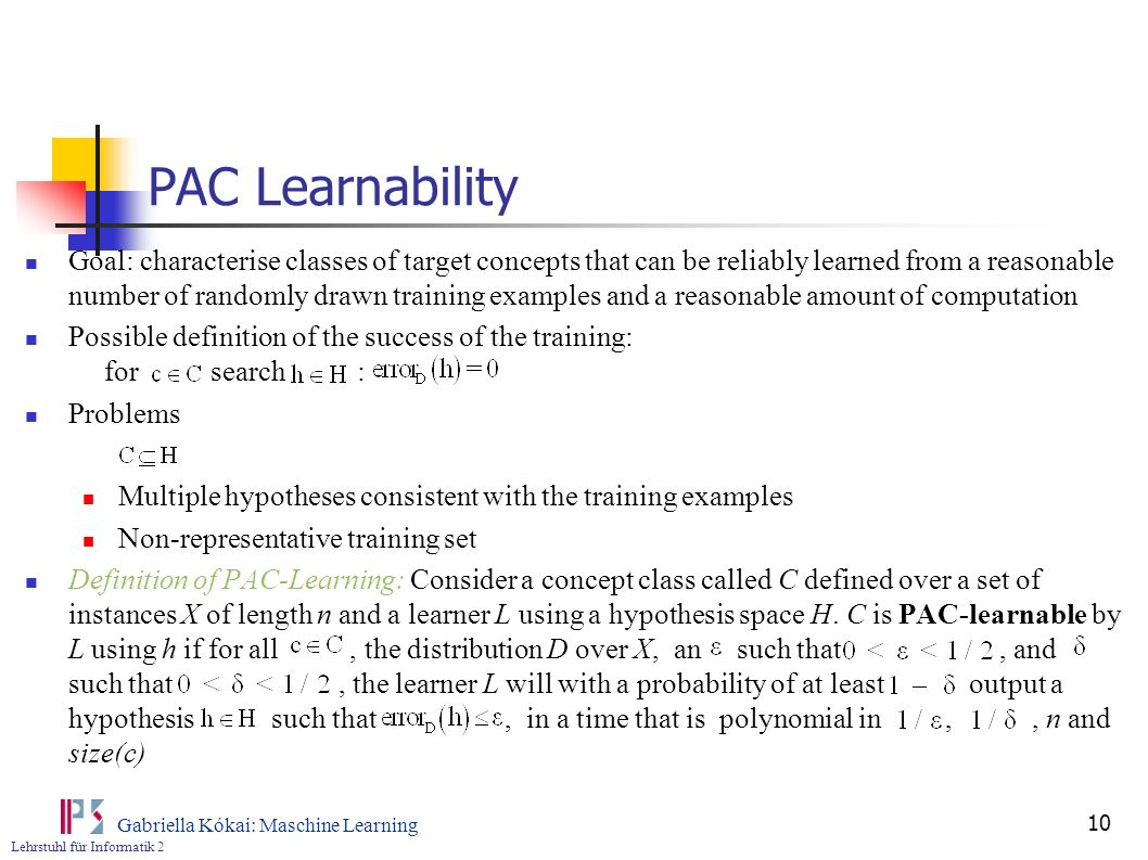 PAC Learnability
