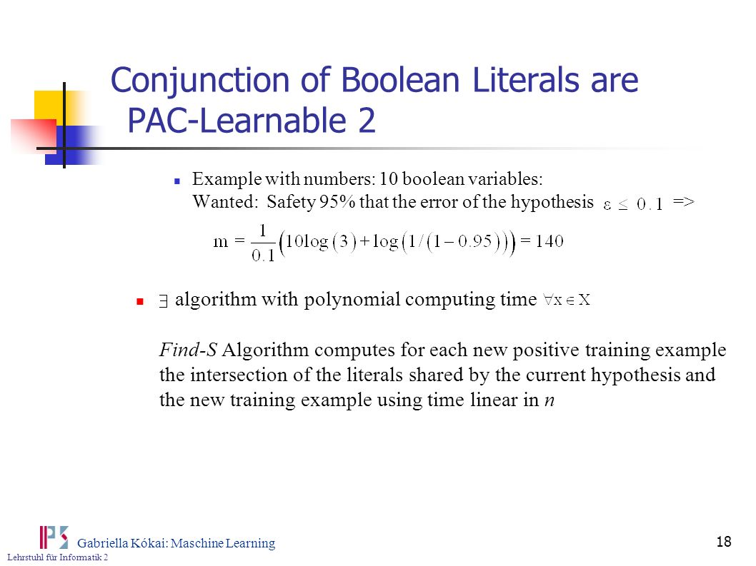 Conjunction of Boolean Literals are PAC-Learnable 2