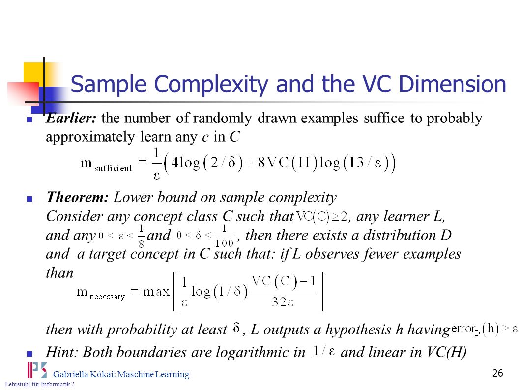 Sample Complexity and the VC Dimension