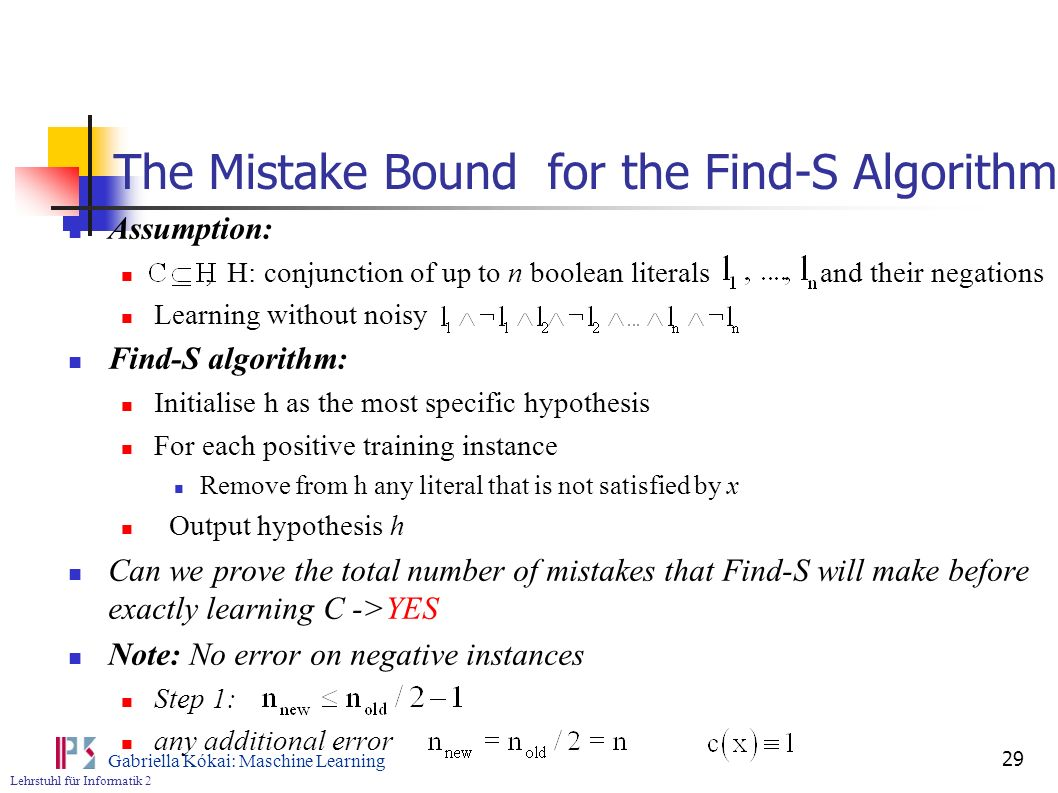 The Mistake Bound for the Find-S Algorithm