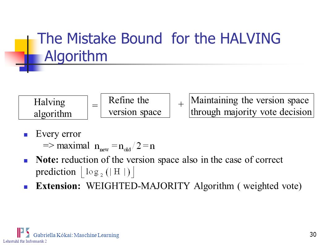 The Mistake Bound for the HALVING Algorithm