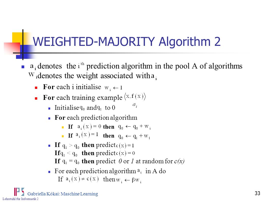 WEIGHTED-MAJORITY Algorithm 2
