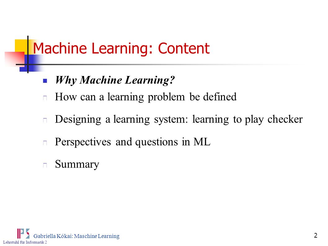 Machine Learning: Content