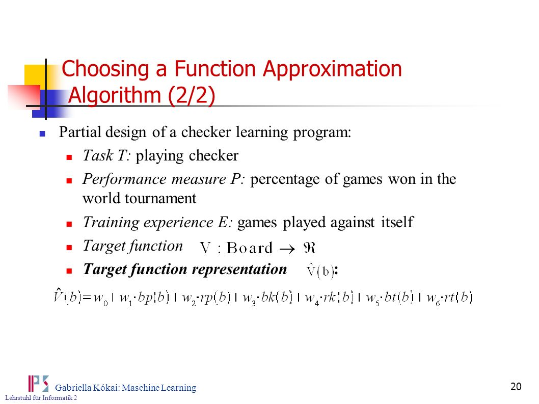 Choosing a Function Approximation Algorithm (2/2)