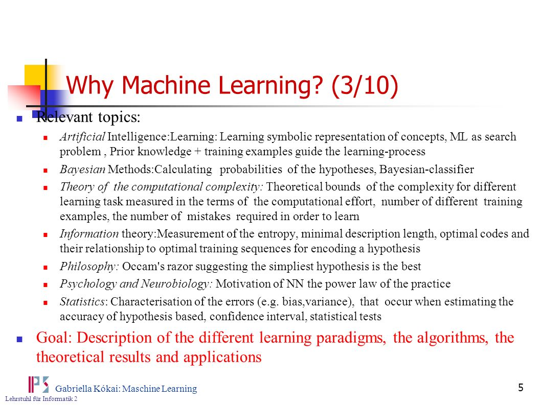 Why Machine Learning (3/10)