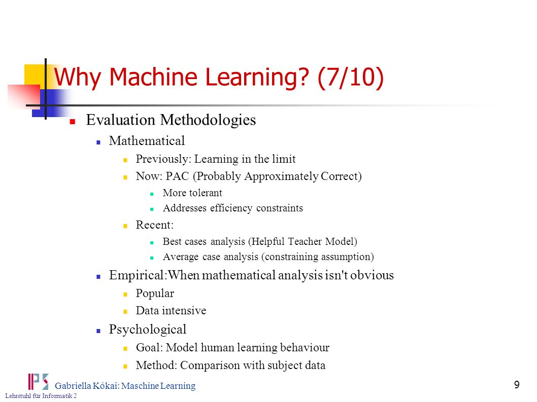 Why Machine Learning (7/10)