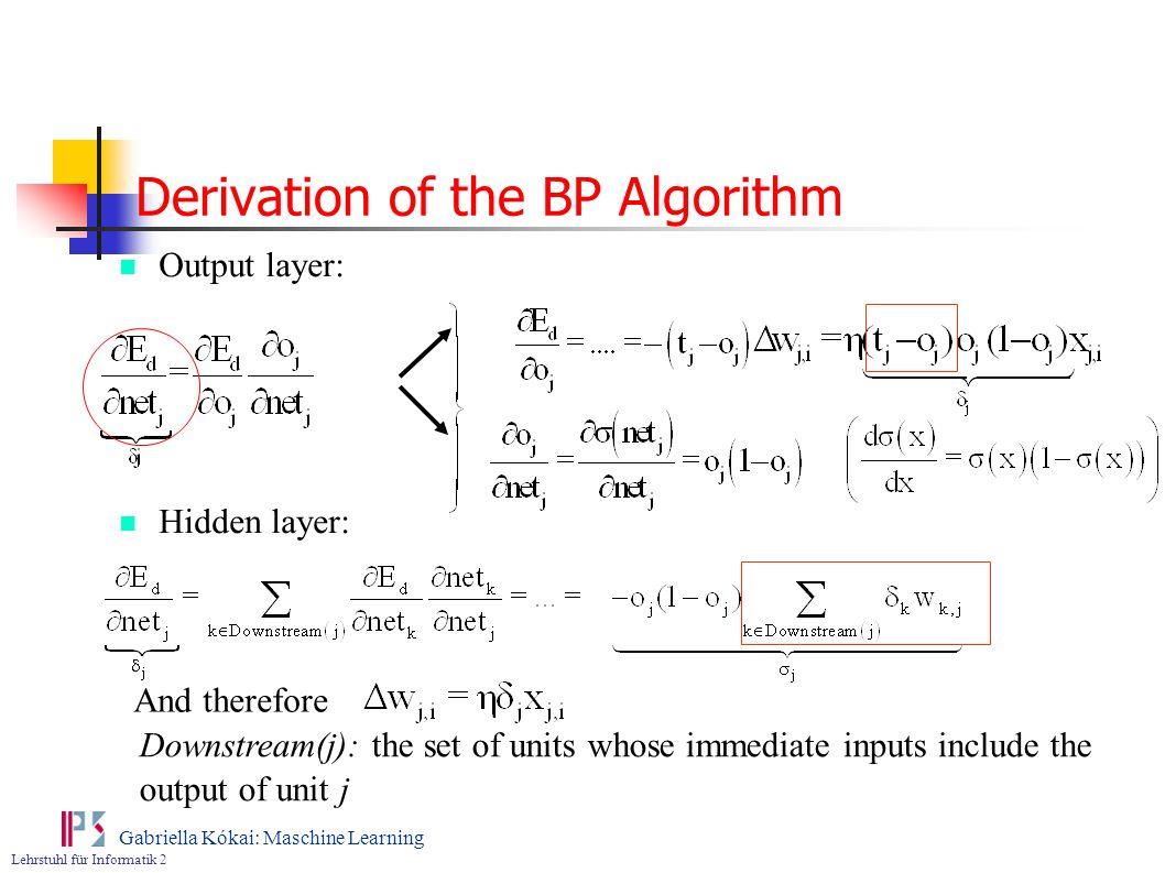 Derivation of the BP Algorithm