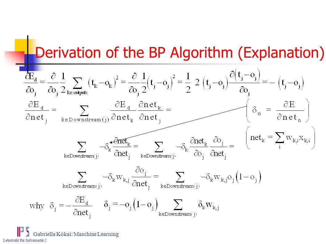 Derivation of the BP Algorithm (Explanation)