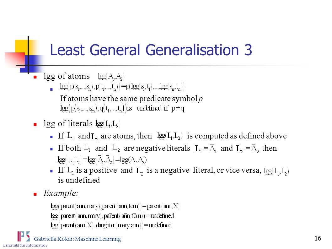 Least General Generalisation 3