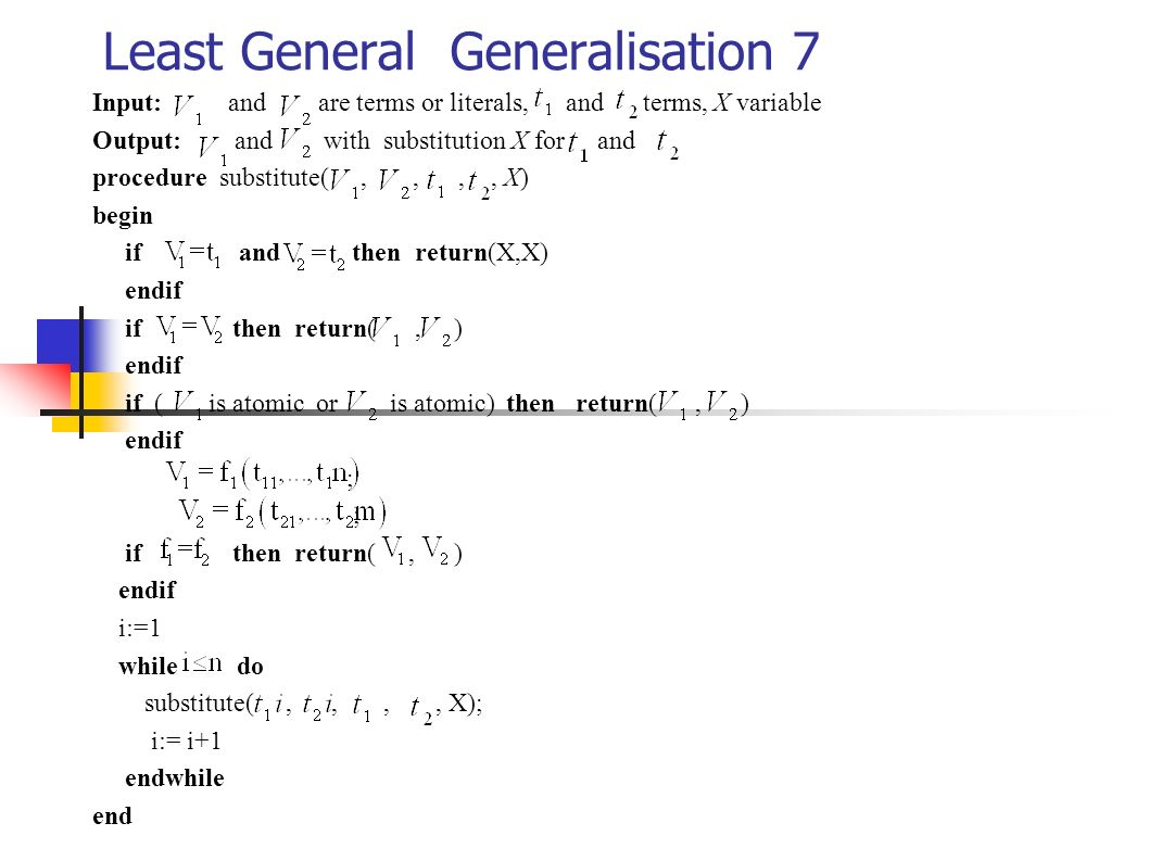 Least General Generalisation 7
