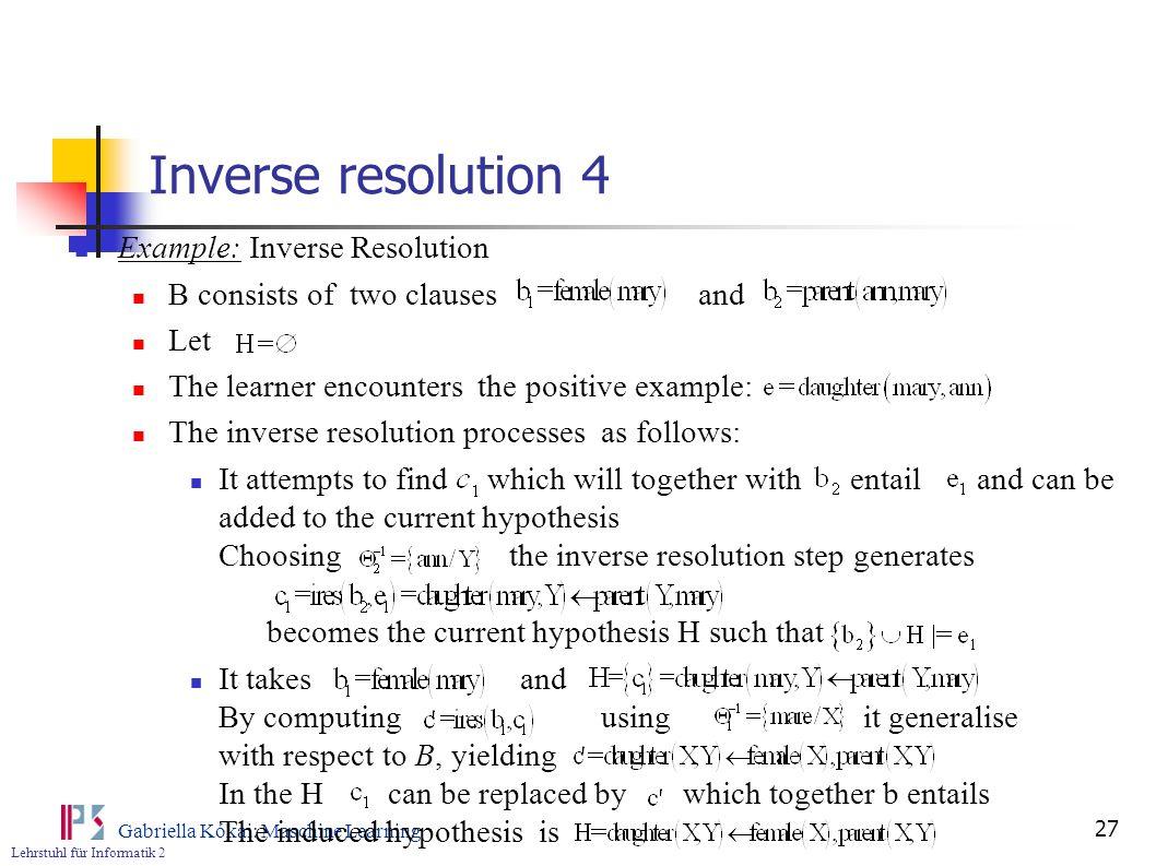 Inverse resolution 4 Example: Inverse Resolution