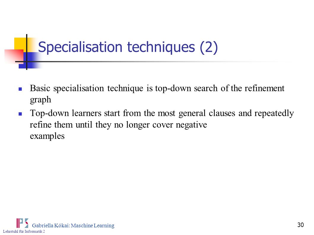 Specialisation techniques (2)