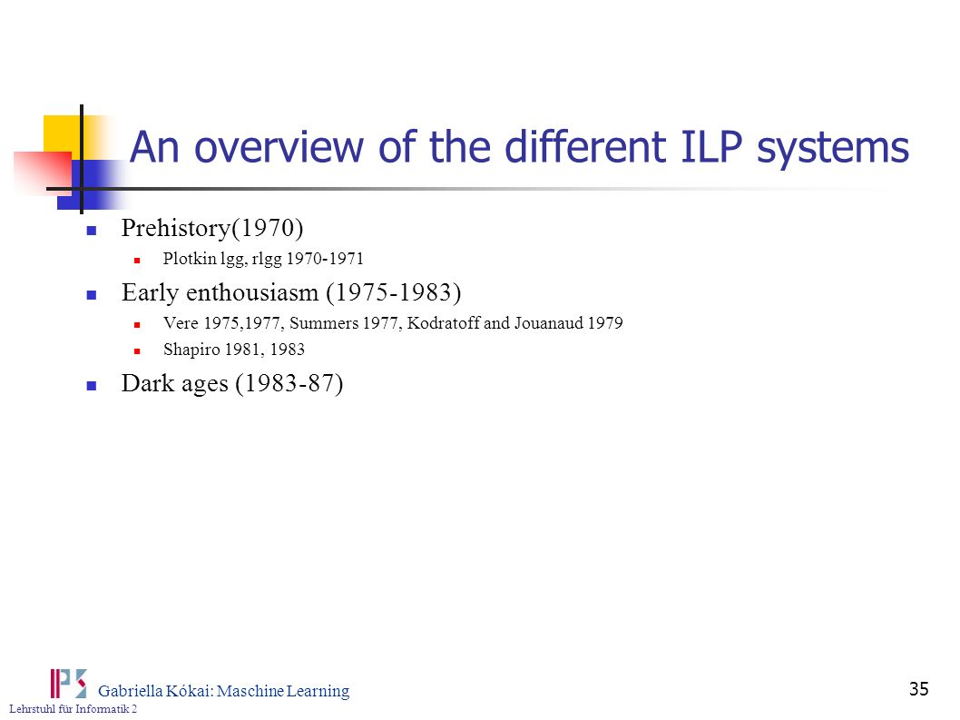 An overview of the different ILP systems