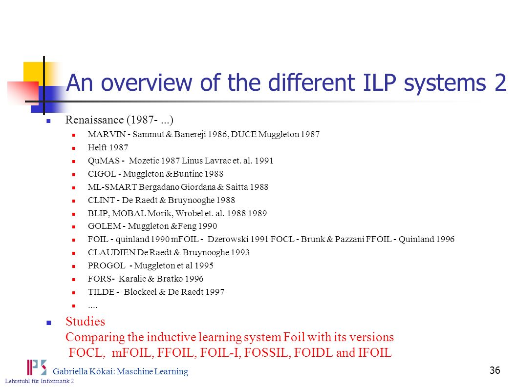 An overview of the different ILP systems 2