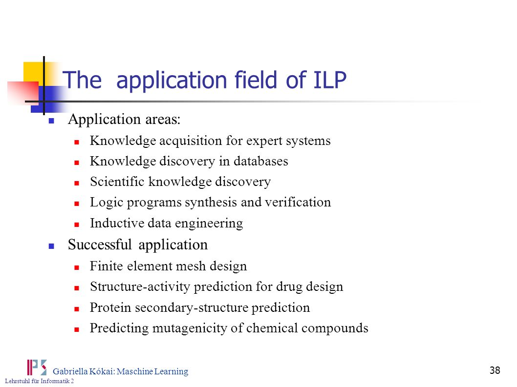 The application field of ILP