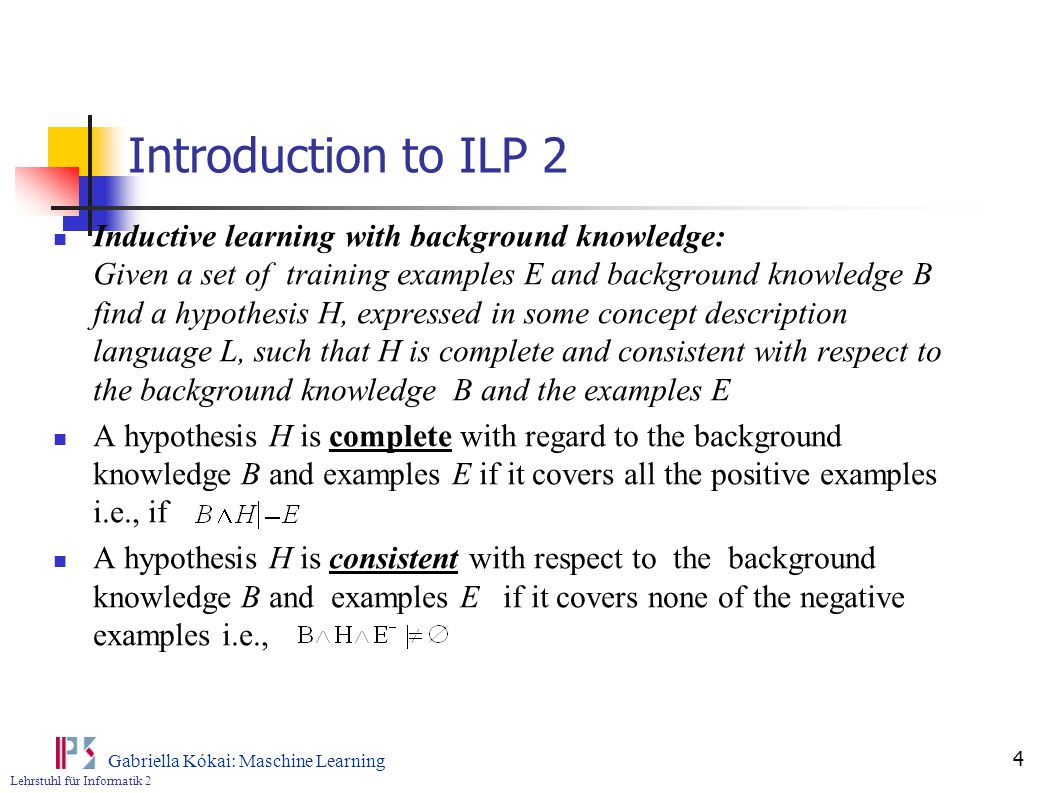 Introduction to ILP 2