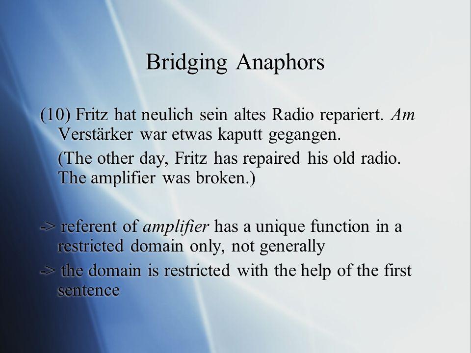 Bridging Anaphors (10) Fritz hat neulich sein altes Radio repariert. Am Verstärker war etwas kaputt gegangen.