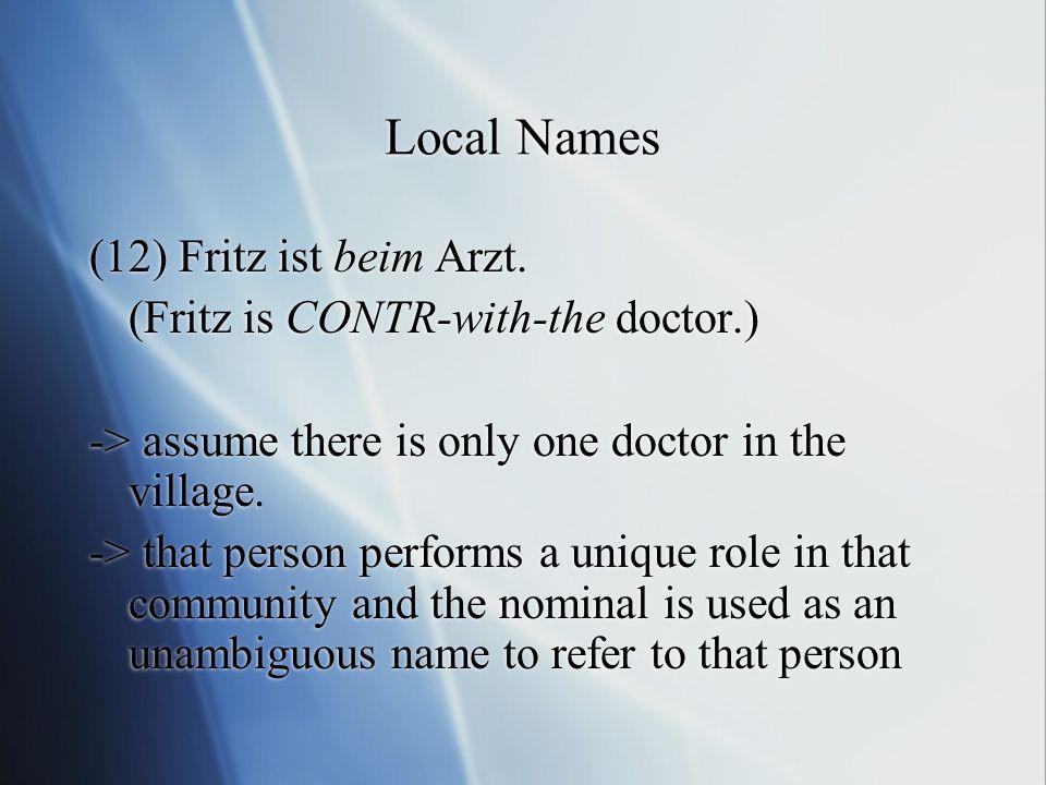 Local Names (12) Fritz ist beim Arzt.
