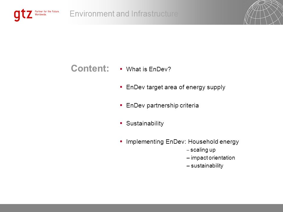 Content: What is EnDev EnDev target area of energy supply