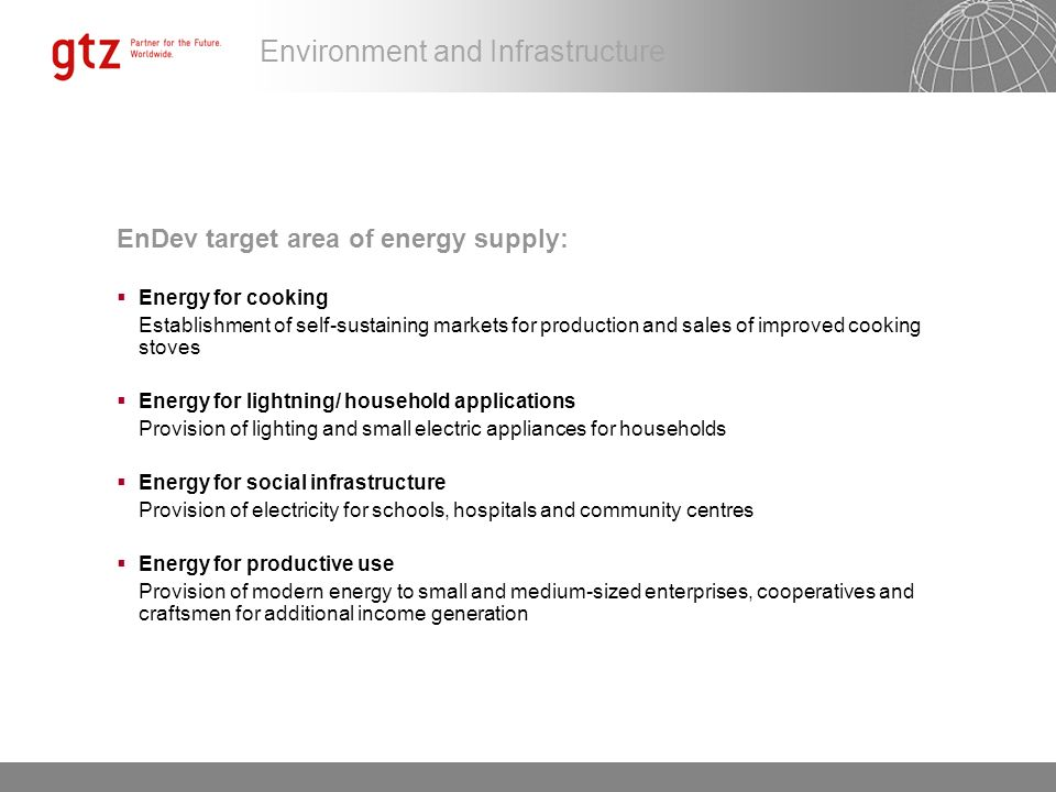 EnDev target area of energy supply: