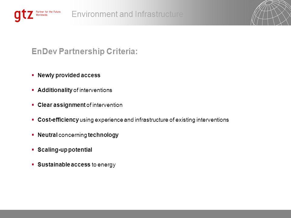 EnDev Partnership Criteria: