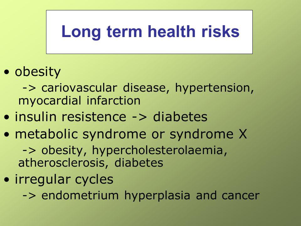 Long term health risks obesity insulin resistence -> diabetes