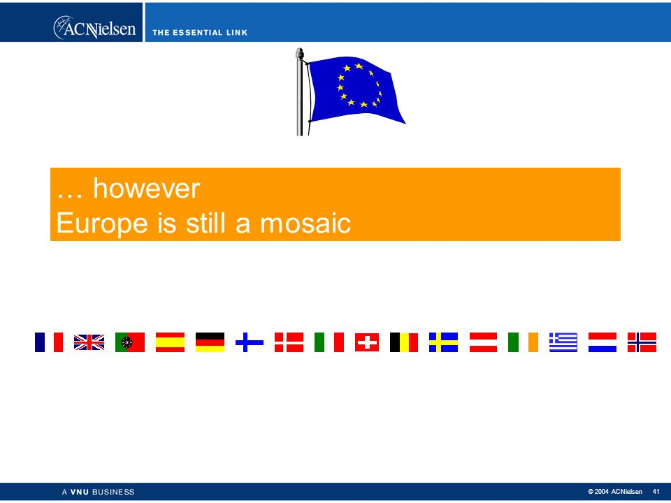 … however Europe is still a mosaic