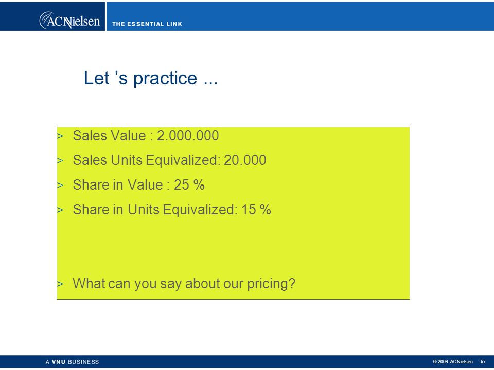Let 's practice ... Sales Value : 2.000.000