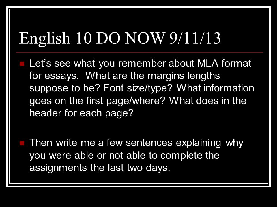 English 10 DO NOW 9/11/13