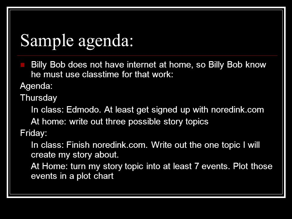 Sample agenda: Billy Bob does not have internet at home, so Billy Bob know he must use classtime for that work: