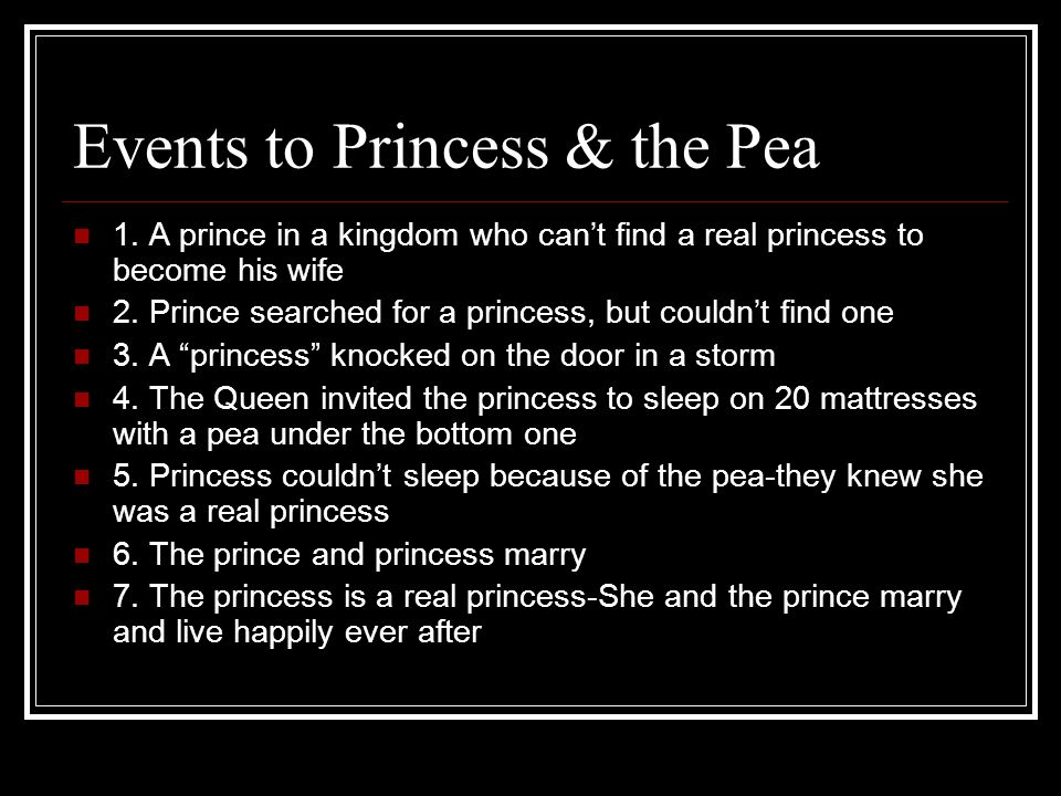 Events to Princess & the Pea