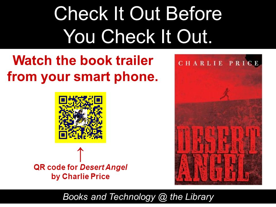 Watch the book trailer from your smart phone. QR code for Desert Angel
