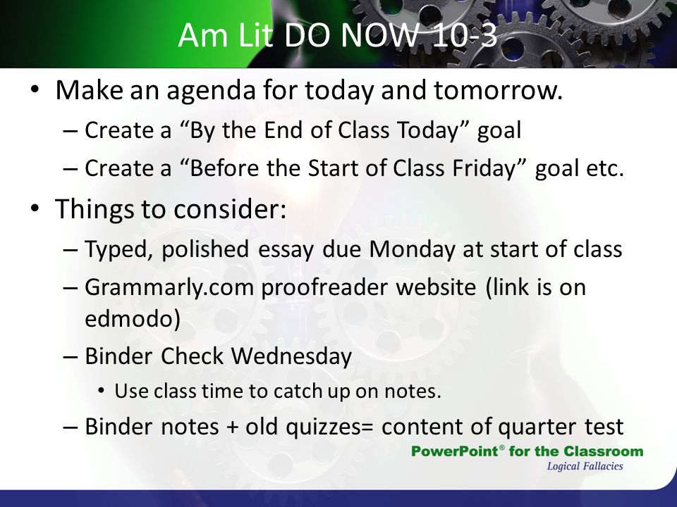 Am Lit DO NOW 10-3 Make an agenda for today and tomorrow.
