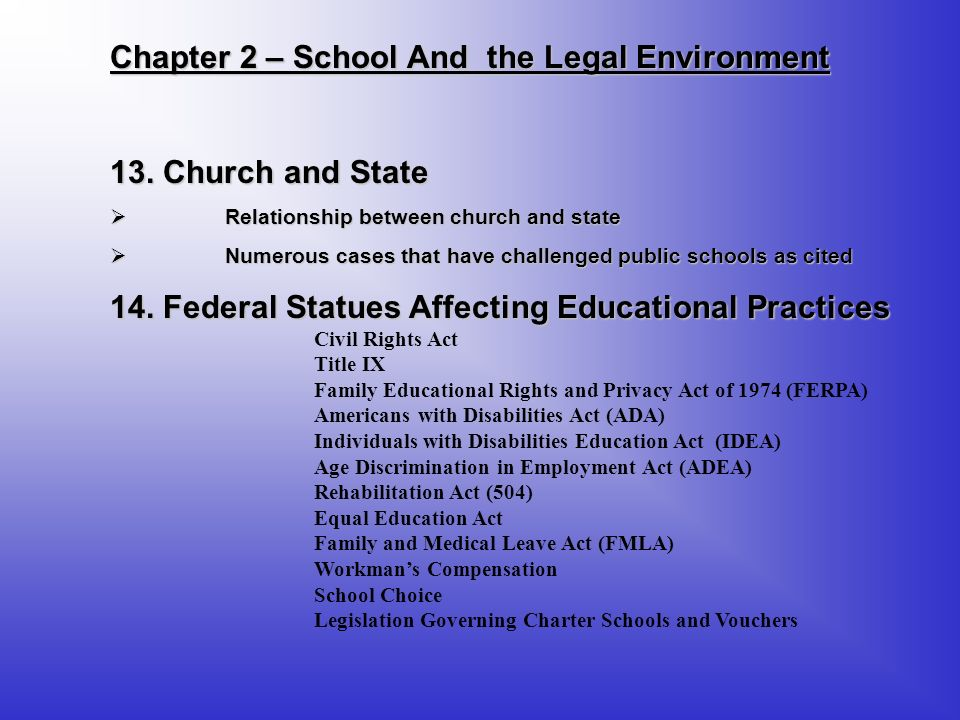 Chapter 2 – School And the Legal Environment
