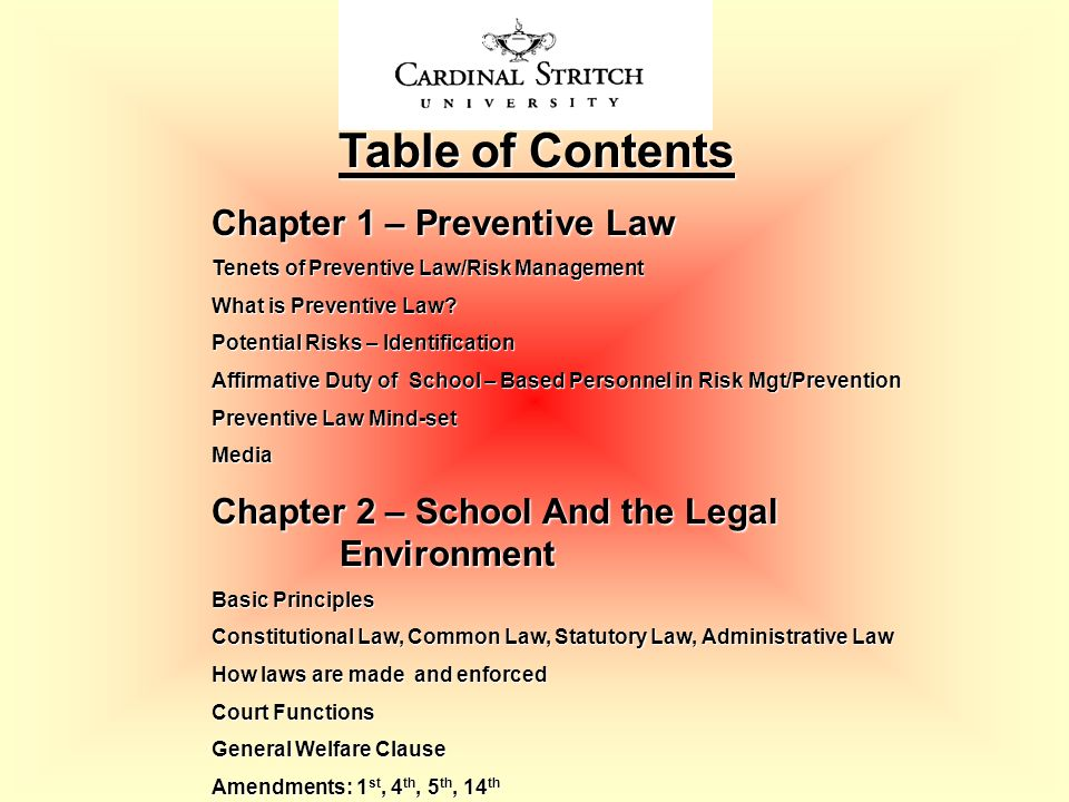 Table of Contents Chapter 1 – Preventive Law