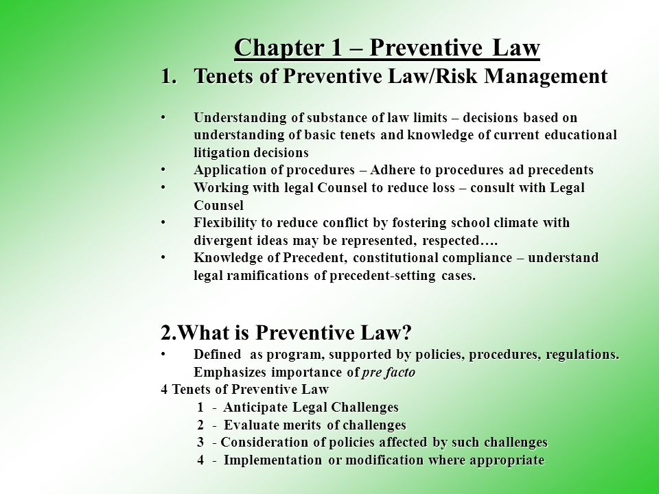 Tenets of Preventive Law/Risk Management