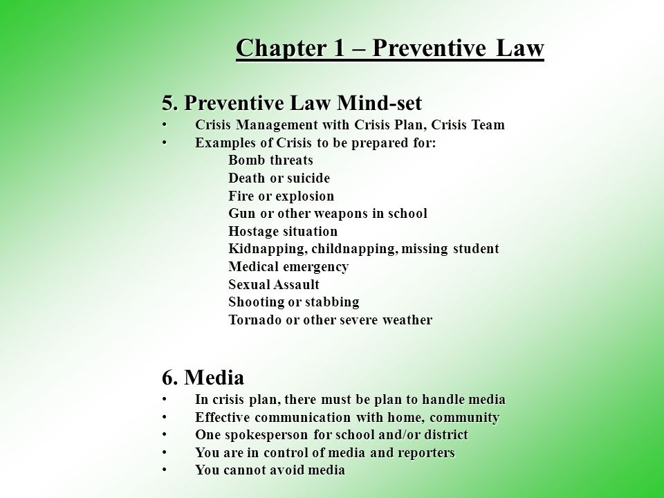 5. Preventive Law Mind-set