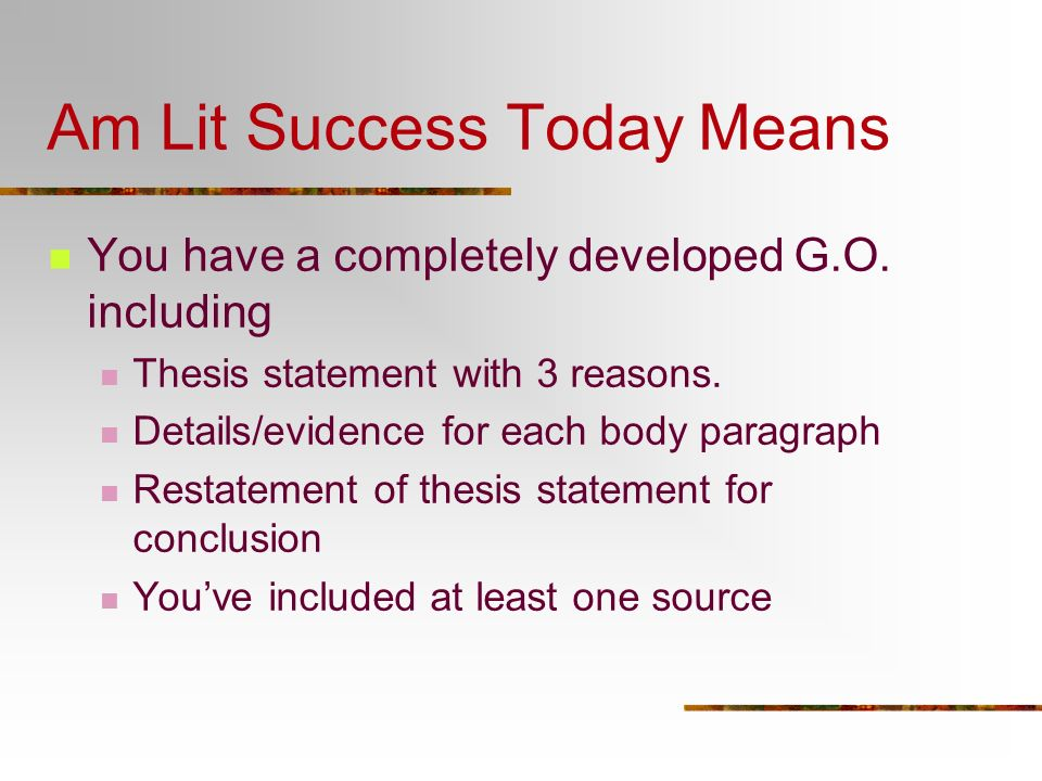 Am Lit Success Today Means