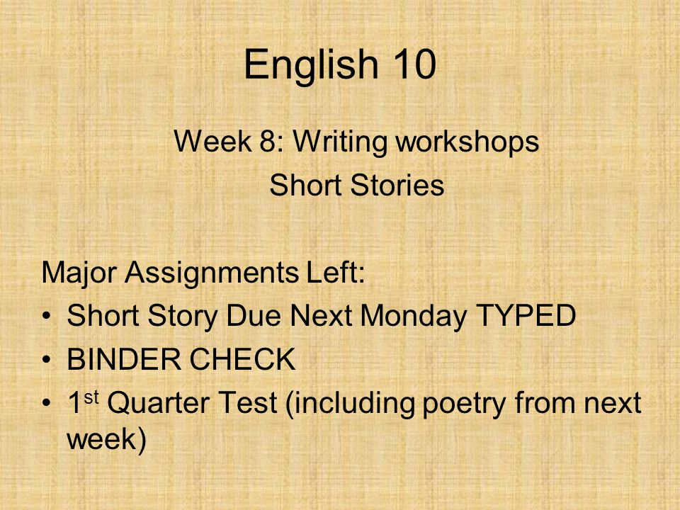 Week 8: Writing workshops